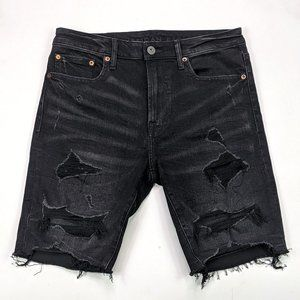 American Eagle Flex Size 32 Black Distressed Short